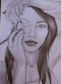 This is a sketch drawn very creatively - it shows a girl who is drawing herself.... nice illusion art