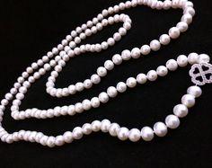 ¡Impresionante! Collar largo de perlas 8mm / cuerda / blanco ópera longitud - REAL - - NUEVO!!