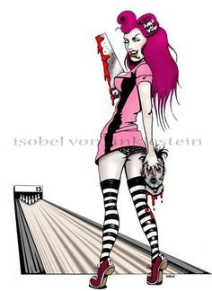 zombie pin- up art print, Horror, bowling, 'Ten pin terror 420x297. $20.00, via Etsy.