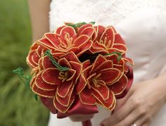 Crimson Passion French Beaded wedding bouquet - Featured in My Day Magazine -made to order-- member of the artisan group
