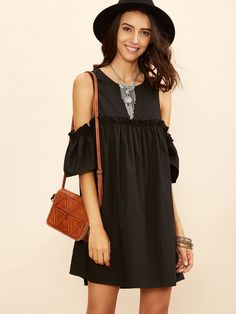 14$  Watch here - http://dio7c.justgood.pw/go.php?t=6769 - Black Cold Shoulder Frill Babydoll Dress