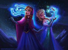 Disney line-art, colored by Katie Payne, via Behance Frozen Elsa And Anna, Disney Frozen Elsa, Disney Magic, Disney Art, Disney Princess, Princess Anna, Elsa Anna, Anna Disney, Frozen Princess