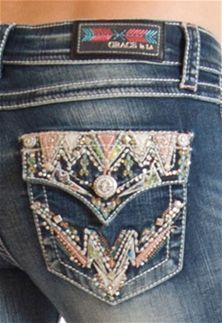 55fc6fe9546 Grace in LA Jeans Bootcut with Aztec Flap Pocket JB6868 Miss Me Jeans
