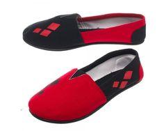 DC Comics Harley Quinn Black Slip On Shoes M