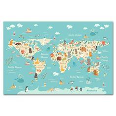 Animals World Map Canvas - 60x90cm (No Frame)