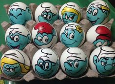 The Smurfs Easter eggs by Rene-L on DeviantArt Pokemon Easter Eggs, Easter Eggs Kids, Easter Bunny, Confetti Eggs, Recycling For Kids, Cute Egg, Easter Egg Designs, Painted Rocks Kids, Diy Artwork