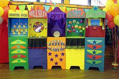 These Side--Show-Alley-booths are for decoration only, but there is a lot of carnival-theme inspiration on this site! Decorating ideas, fonts, more!