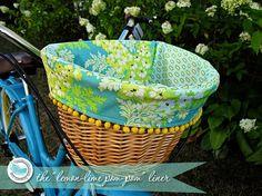 LemonLime PomPom Bike Basket Liner by BlueSkyConfections on Etsy, $42.00