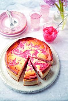 Cheesecake marbré rhubarbe citron - Rhubarb and lemon baked cheesecake