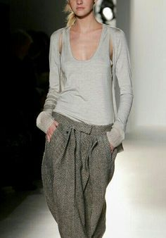 oversize tweed trousers