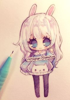 ...and a kitty hoodie? QWQ I like doing little chibi sketches uwu but it kinda gets hard to colour since it's small Sakura koi watercolors on Canson XL mixmedia paper
