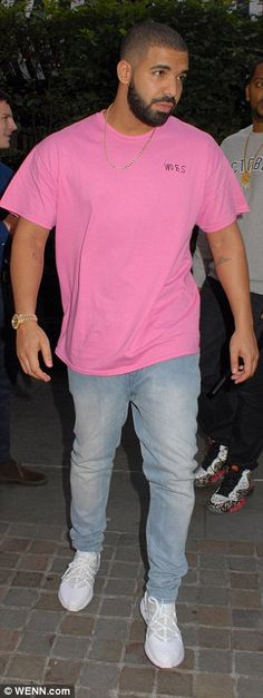 In the pink: Rapper Drake made an appearance in-between his two Wireless festival performa...
