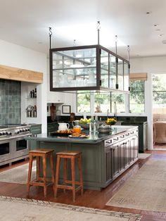 The kitchen of the 1963 Buff & Hensman house in Beverly Hills owned by Ellen DeGeneres and Portia de Rossi.