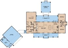 The house covers a total heated and cooled area of 2191 square feet and includes these great features: • Walk-in kitchen pantry • Spacious walk-in closets • Fireplace in the Great Room • Capacious laundry room / mud room • His and her walk-in closets in the master bedroom suite #houseplan #masterbedroomsuite