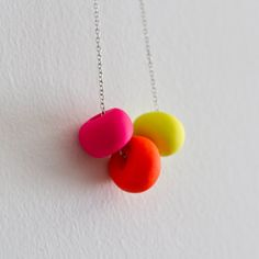 Unique hand made bead necklace - Fluro Pink, Orange and Yellow  by ViolentKittenShop