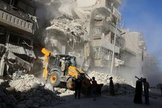Syrian government and rebel forces battled for control of high ground on the Aleppo outskirts yesterday as warplanes bombed the city's opposition-held east relentlessly in a Russian-backed offensive that has left Washington's Syria policy in tatters.