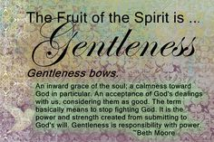 The Fruit of the Spirit...Gentleness and a Beth Moore quote