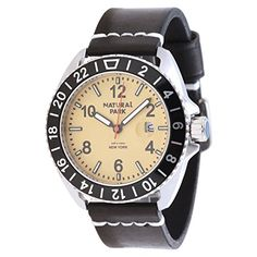 Men Business Casual Watch with Brown Dial Luminated Hand Black Leather Strap >>> You can find more watch details by visiting the image link.