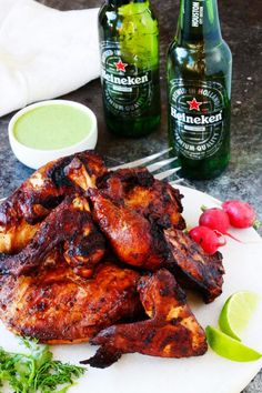 This Peruvian Grilled Chicken with Creamy Green Sauce is packed with flavor and the perfect way to add some international flair to your next barbecue | platingsandpairings.com