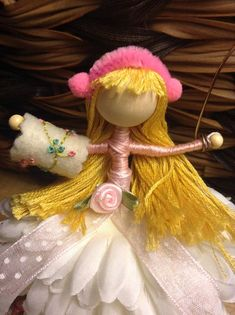 Bendy waldorf style winter fairy with snowflake and muff