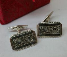 Vintage Manschettenknöpfe - Manschettenknöpfe 835er Silber Cufflinks alt MS117…
