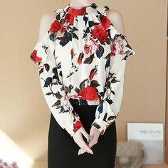 Lansare noua! Topuri de dama cu umerii decupati, bluze din sifon cu imprimeu floral, imbracaminte de strada pentru femei