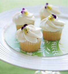 Cupcakes with Buttercream and Pansies  - Wow your guests with DIY details from Maria McBride's new book - Wedding Cake