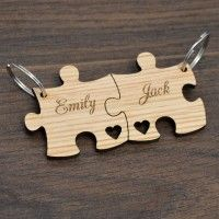 Personalised Jigsaw Keyring Set Birthday Valentines Day Anniversary Gift Present