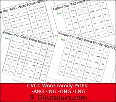 Free CVCC Word Family Word Path: -ANG, -ING, -ONG, – UNG -3Dinosaurs.com