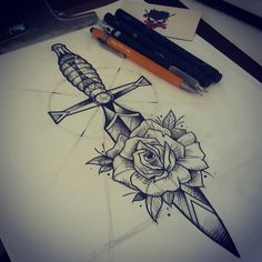 The flower is me Quod me nutrit me destruit Shin Tattoo, Tattoo Bein, Knife Tattoo, Dagger Tattoo, Arm Tattoo, Top Tattoos, Body Art Tattoos, Sleeve Tattoos, Tatoos