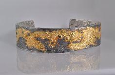 Fusion Concepts Oxidized Silver and 18k Gold Cuff