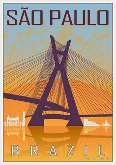 Sao Paulo vintage poster by Pablo Romero
