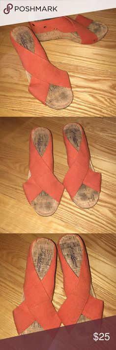 Lucky Brand Cork Wedges These are the MOST comfortable summer wedges and perfect for your next vacation! Lucky Brand orange cork wedges. Size 7.5, great condition! Lucky Brand Shoes Wedges