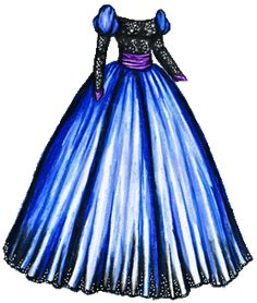 A dramatic ball gown with a black sequined bodice and long sleeves, puffed blue sleeves at the shoulder and a full, shiny blue skirt with a black sequined hem. There's a wide purple satin sash around the waist and purple satin at the wrists. Paper Dolls Clothing, Doll Clothes, Fashion Dolls, Fashion Art, Paper Grocery Bags, Paper Dolls Printable, Purple Satin, Barbie, Vintage Paper Dolls