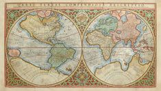 """""""ORBIS TERRAE COMPENDIOSA DESCRIPTIO,"""" Gerardus Mercator, 1602. Mercator was the first to make a distinction between North America and South America. The engraving is a model of clarity and neatness, with typical cursive flourishes to the lettering of the sea names. Surrounding the hemispheres is a strapwork border. Between them at the top is an armillary sphere and at the bottom an elaborate compass rose."""