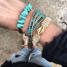 Turquoise ✔ Combo du jour ☺ - Bonne journée ❤ . #fashion #blogger #littlebohoblog #boho #blogueuse #mode #gypset #ootd #outfit #jewelry #jewels #bijoux #turquoise #bracelets #look #style