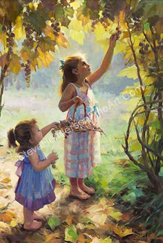 The Harvesters -- Original Oil Painting -- Two Girls Picking Grapes in Autumn Archway by Steve Henderson Oil ~ 36 x 24