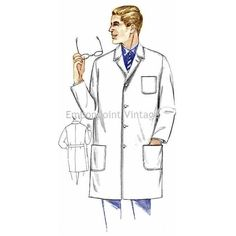 New to EmbonpointVintage on Etsy: Plus Size (or any size) Vintage 1969 Men's Lab Coat Pattern - PDF - Pattern No 148 Bradley (11.73 AUD)