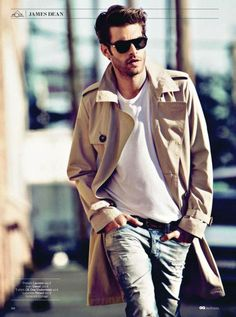 Cream long trench coat. Men's outfit