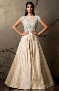Cream indowestern gown by Shyamal & Bhumika