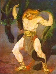 Tales from Norse Mythology by Katharine Pyle- Thor strives to lift Utgard-Loki's cat