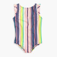c312029962 crewcuts Girls Flutter-Sleeve One-Piece Swimsuit In Pink Stripe Striped One  Piece,