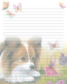 Digital Printable Journal Page Dog 123 Papillon Butterfly Stationary 8x10 Download Scrapbooking Paper Template art painting L.Dumas by DigitalsbyLucie on Etsy