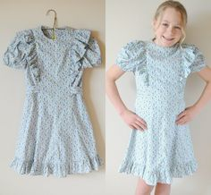 Vintage Girl 1940's Flower Print RUFFLE Dress by HartandSew