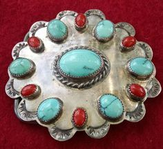 Native American Navajo Sterling Silver Turquoise Coral Signed Belt Buckle