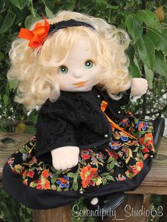 OOAK My Child Doll in Custom Fall Outfit Fabric Doll Pattern, Fabric Dolls, Dolls Dolls, Cute Dolls, My Child Doll, Realistic Baby Dolls, My Children, Vintage Toys, Fashion Dolls