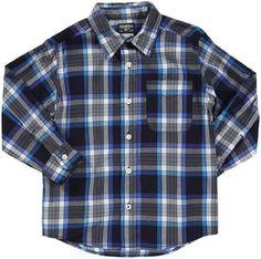 OshKosh B'Gosh Boys SIZE 4 Blue Plaid Cotton Poplin Shirt $30 NWT  #OshKoshBgosh #Everyday