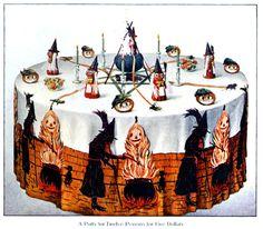 4 festive Halloween party table decorations and menu plans - Retro Halloween, Halloween Kunst, Fairy Halloween Costumes, Halloween Artwork, Halloween Table, Halloween Items, Halloween Season, Halloween Party, Paper Halloween