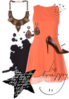 A basic orange dress goes perfectly with our It's The Time To Disco in Brown.