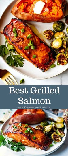 Grilled Salmon - Perfectly grilled salmon with a slightly sweet and smoky flavor that's a great weeknight meal!Best Grilled Salmon - Perfectly grilled salmon with a slightly sweet and smoky flavor that's a great weeknight meal! Best Grilled Salmon Recipe, Grilled Salmon Recipes, Grilled Seafood, Grilled Salmon Dinner, Grilled Salmon Marinade, Salmon On Bbq, Grilled Dinner Ideas, Salmon Meals, Vegetables